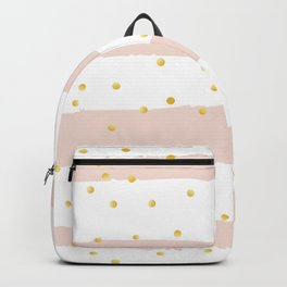 Pink Stripes & Gold Confetti Backpack