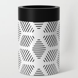 Geometric Line Lines Diamond Shape Tribal Ethnic Pattern Simple Simplistic Minimal Black and White Can Cooler