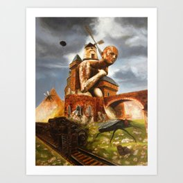 The Man in the Castle (illustration from my painting manual Fantastic realism) Art Print