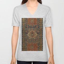 Persia Heriz 19th Century Authentic Colorful Orange Blue Green Vintage Patterns Unisex V-Neck
