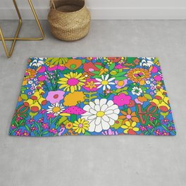 60's Groovy Garden in Blue Rug