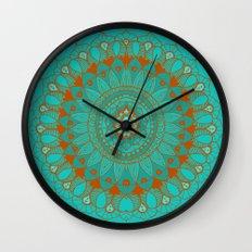 Hand-Drawn Bohemian Mandala Turquoise & Rust Wall Clock
