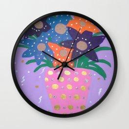 Fiesta Flowers Modern Still Life Wall Clock