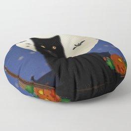 Halloween cat, Halloween, cat, moon, pumpkin, Halloween pumpkin, Halloween night, bats Floor Pillow