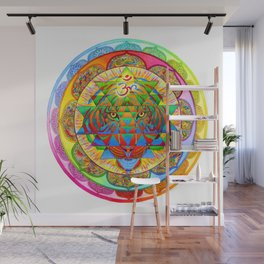 Inner Strength Psychedelic Tiger Sri Yantra Mandala Wall Mural