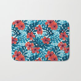 Tropical Hibiscus Pattern Red Bath Mat