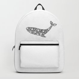 Silhouette of whale with floral ornament Backpack