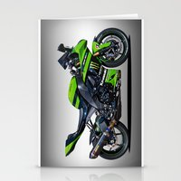 motorbike Stationery Cards featuring Kawasaki Motorbike by cjsphotos