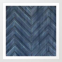 Midnight Blue Chevron Art Print