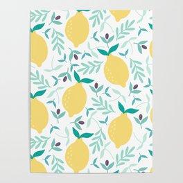 Lemon & Blueberry Pastel Poster