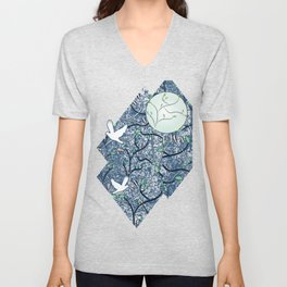 Art Nouveau Moon with Doves (Blue and Silver) Unisex V-Neck