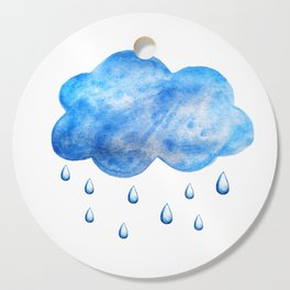 Blue watercolor cloud with raindrops Cutting Board