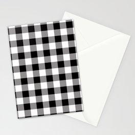 Buffalo Plaid White Black Lumberjack Pattern Farmhouse Stationery Cards
