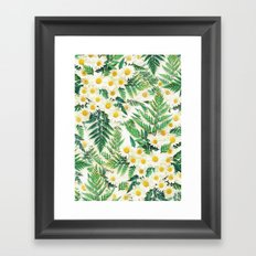 Textured Vintage Daisy and Fern Pattern  Framed Art Print