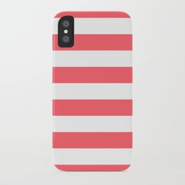 Coral Red Stripes Bold iPhone Case