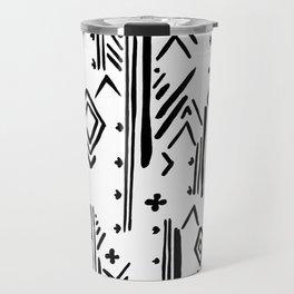 Geometrical black white hand painted tribal Travel Mug