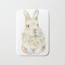 Bunny Rabbit with Daisy Wreath Watercolor Bath Mat