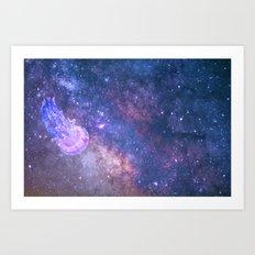 Jellyfish Space Exploration Art Print
