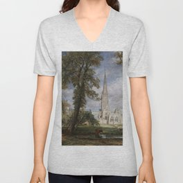 John Constable - Salisbury Cathedral from the Bishop's Garden Unisex V-Neck