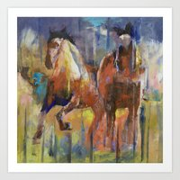 horses Art Prints featuring Horses by Michael Creese