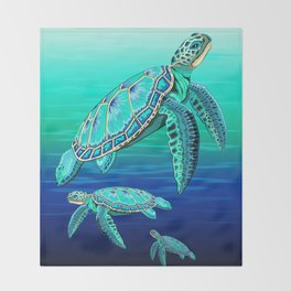 Sea Turtle Turquoise Oceanlife Throw Blanket