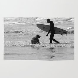 One Surfer And His Dog Rug