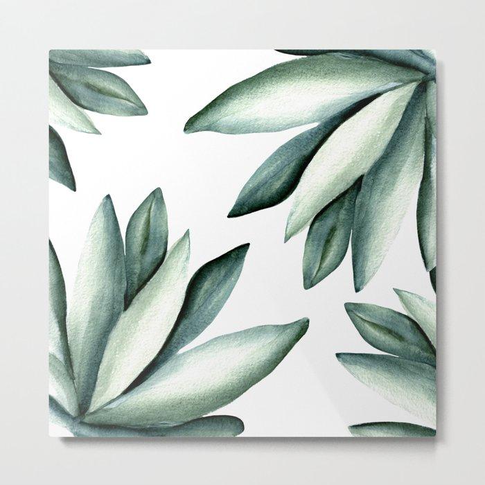 Tropical white pattern Metal Print