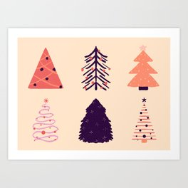 Coral and plum Christmas trees Art Print