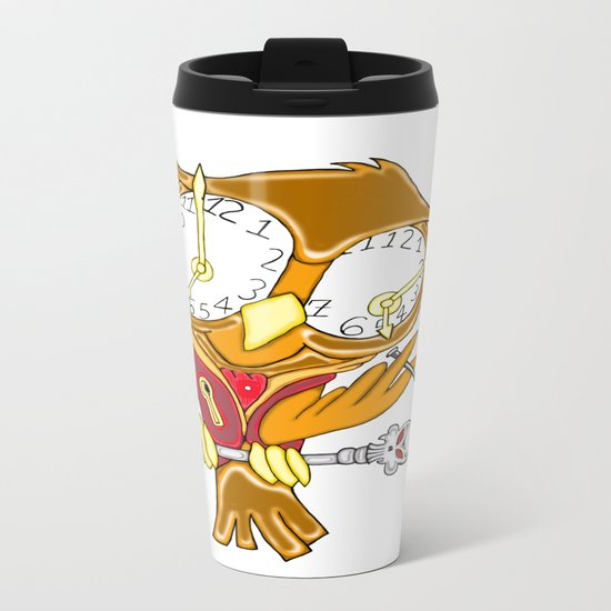 Whimsical Steampunk Owl Metal Travel Mug