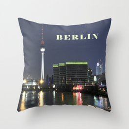 Night at river Spree in BERLIN Throw Pillow