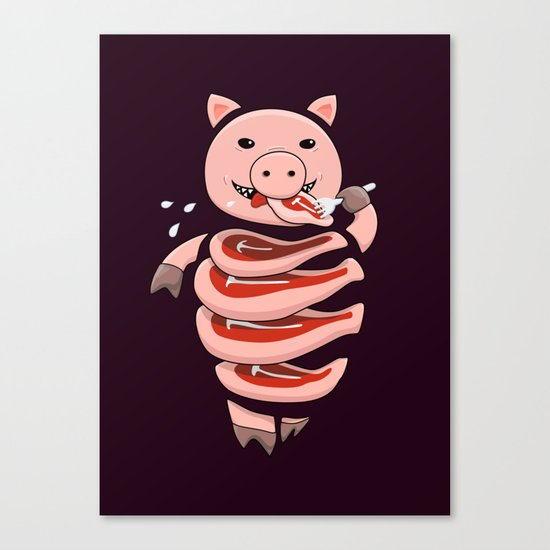Gluttonous Cannibal Pig Canvas Print