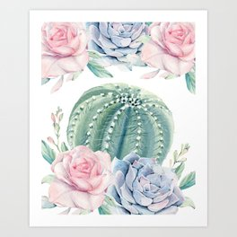 Cactus Rose Succulents Garden Art Print