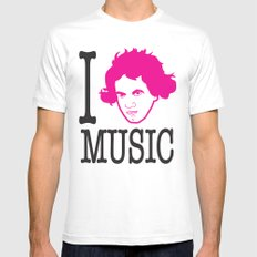 I __ Music White Mens Fitted Tee MEDIUM