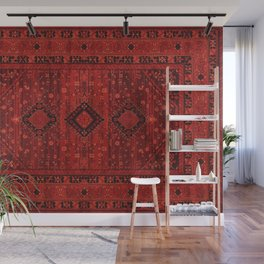 Red Traditional Oriental Moroccan & Ottoman Style Artwork. Wall Mural