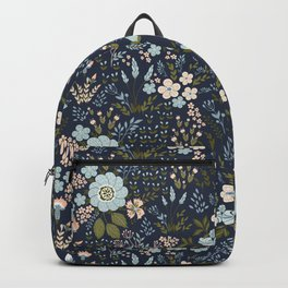Navy Floral Field Print Backpack