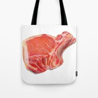 meat Tote Bags featuring Meat by Adriana de Barros