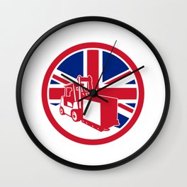 British Logistics Union Jack Flag Icon Wall Clock
