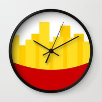 fries Wall Clocks featuring Fries by Jiro Tamase