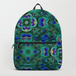 Peacock Feathers Geometrical Pattern Backpack