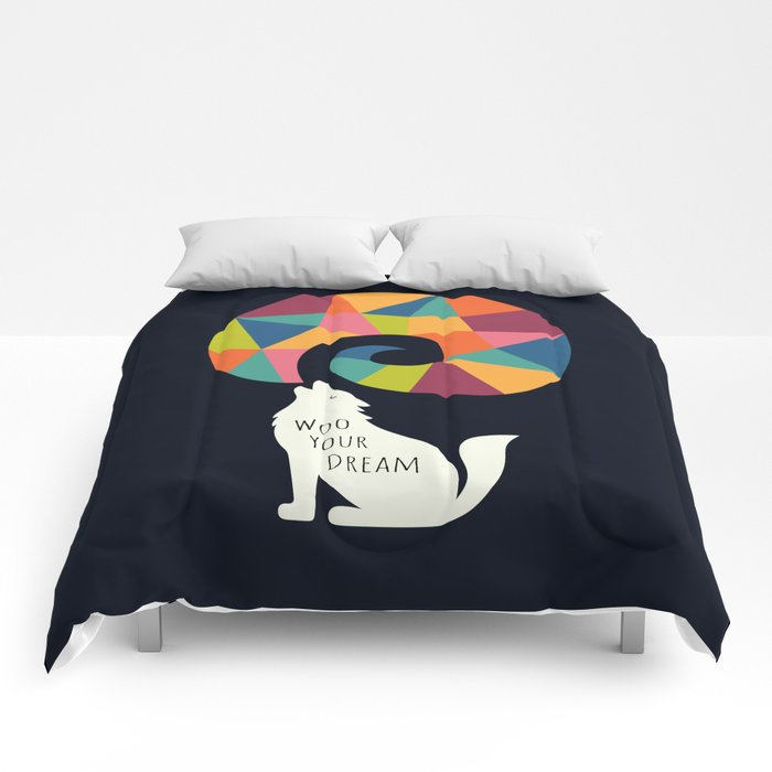 Woo Your Dream At Night Comforters