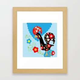 Portuguese Rooster of Luck with blue dots Framed Art Print