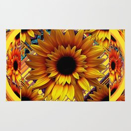 AWESOME GOLDEN SUNFLOWERS  PATTERN ART Rug