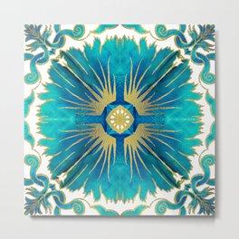Azulejos - Portuguese Tiles Aqua Metal Print