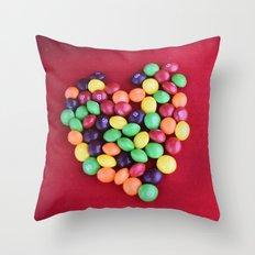 Skittles Heart Throw Pillow