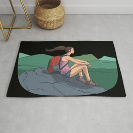 Snow covered mountains and peaks in the sun Rug