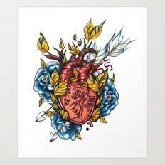 Pomegranate Heart Art Print