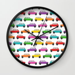 Vintage Cars, Mini size in rainbow colors Wall Clock