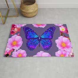 BLUE BUTTERFLY PINK ROSES GREY ART Rug