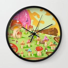 Mushroom Fields Cartoon Landscape Wall Clock