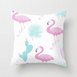 Flamingos and cactus Throw Pillow